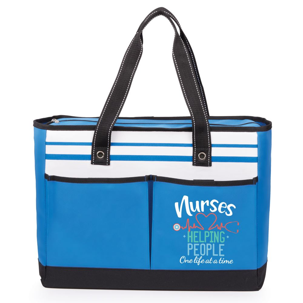 Nurses: Helping People One Life At A Time Blue Traveler Two-Pocket Tote Bag