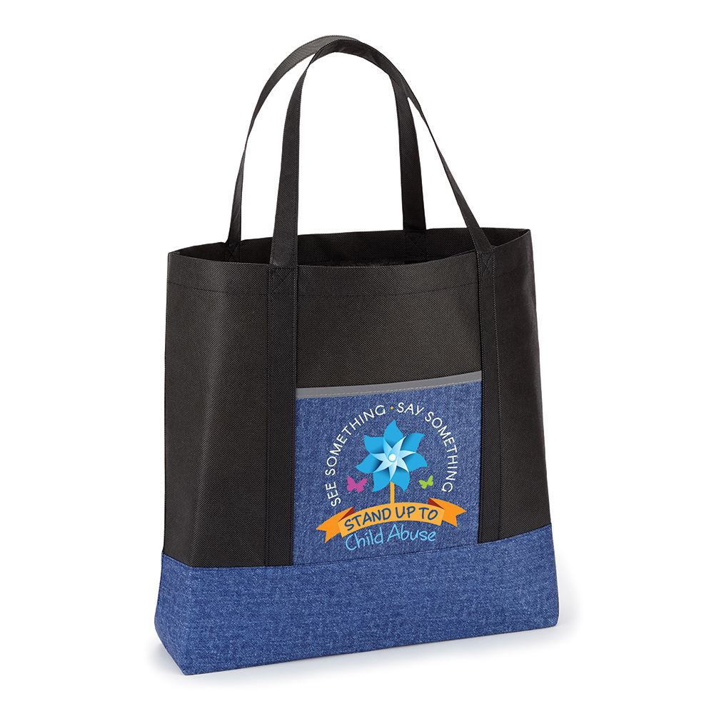 See Something. Say Something. Stand Up To Child Abuse Denim Non-Woven Shopper Tote