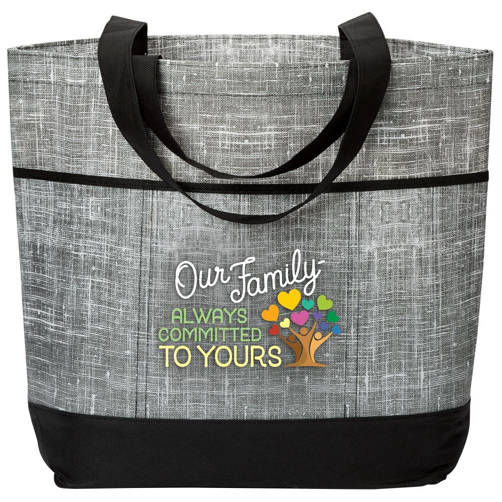 Our Family: Always Committed To Yours Malibu Non-Woven Tote Bag