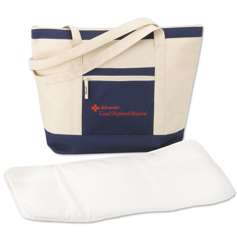 Blue Seaside Insulated Tote With Changing Pad - Personalization Available