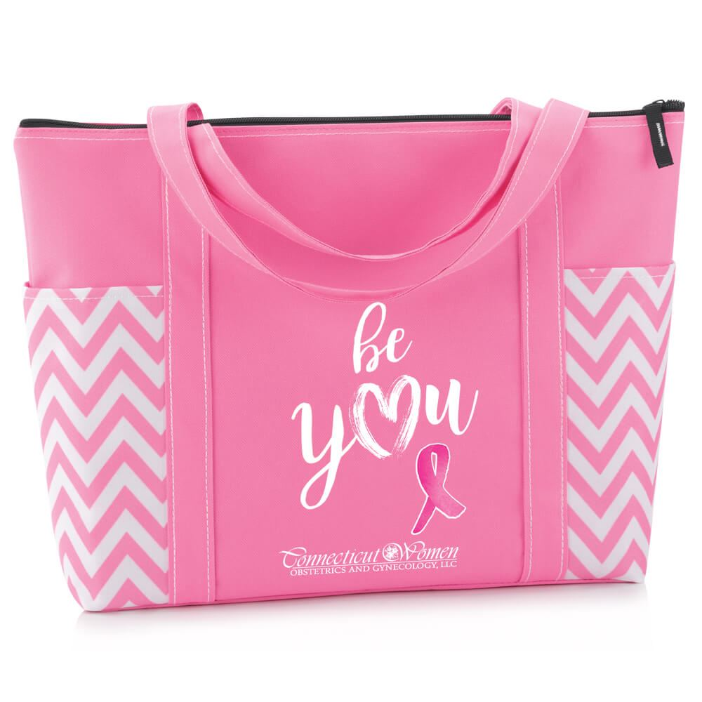 Be You Pink Chevron Tote With Personalization