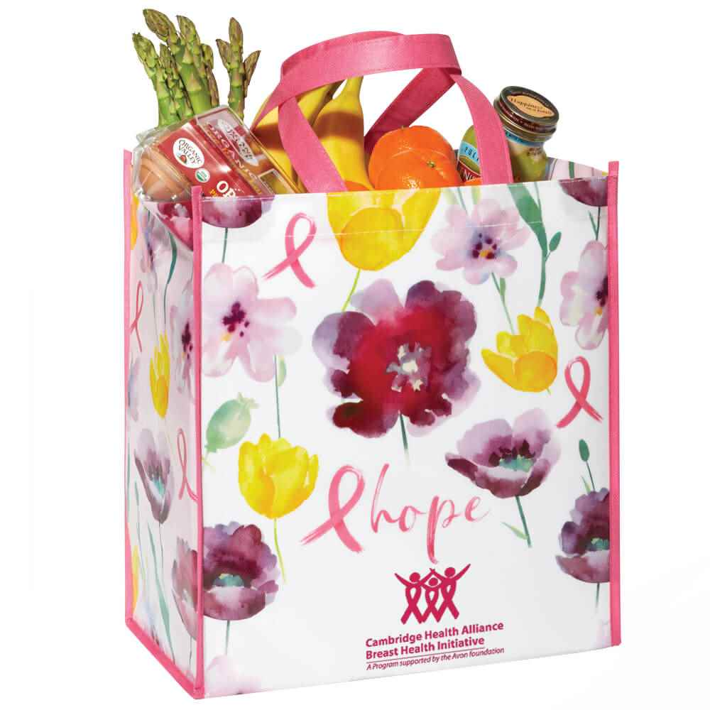 Floral/Hope Laminated Eco-Shopper Tote Bag Plus Personalization