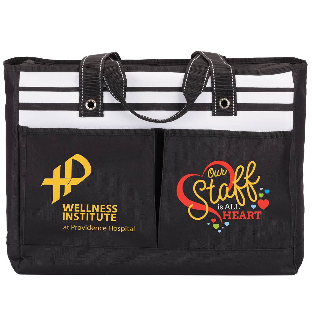 Positivity Black Traveler Two-Pocket Tote Bag With Personalization