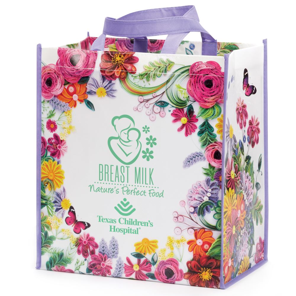 Breast Milk: Nature's Perfect Food Floral Non-Woven Laminated Tote Bag - Personalization Available