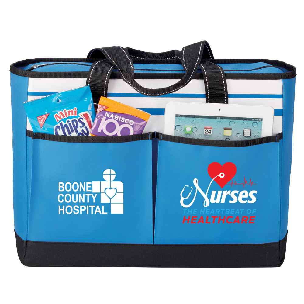 Nurses: The Heartbeat Of Healthcare Blue Traveler Two-Pocket Tote Bag Plus Personalization