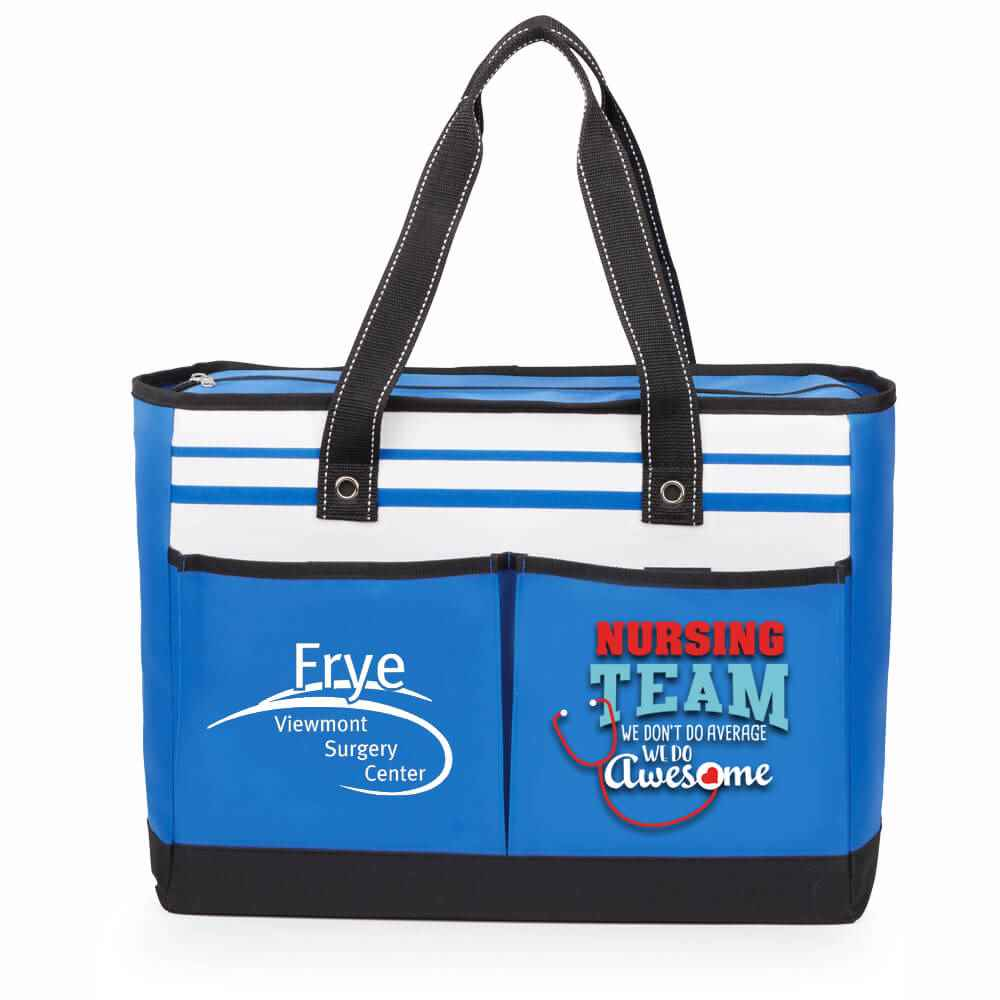 Nursing Team: We Don't Do Average, We Do Awesome Blue Traveler Two-Pocket Tote Bag Plus Personalization