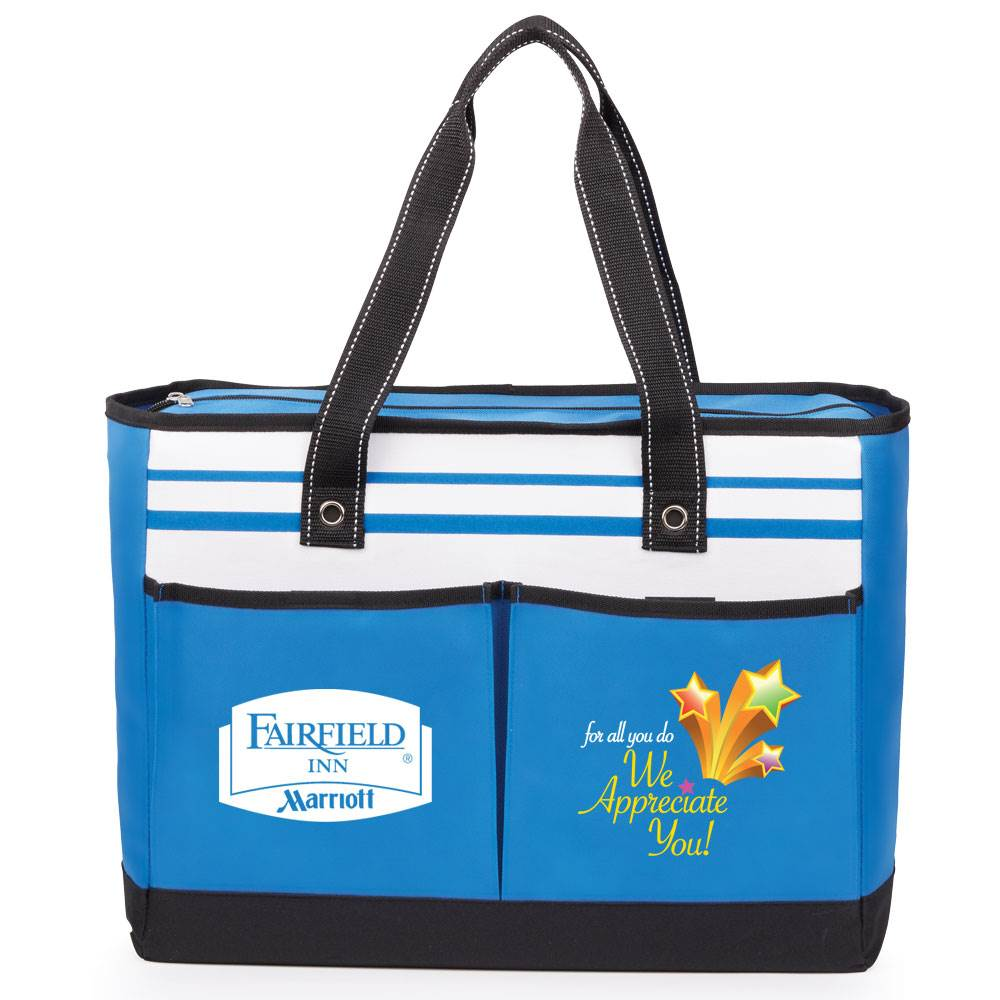 For All You Do, We Appreciate You! Positivity Blue Traveler Two-Pocket Tote Bag Plus Personalization