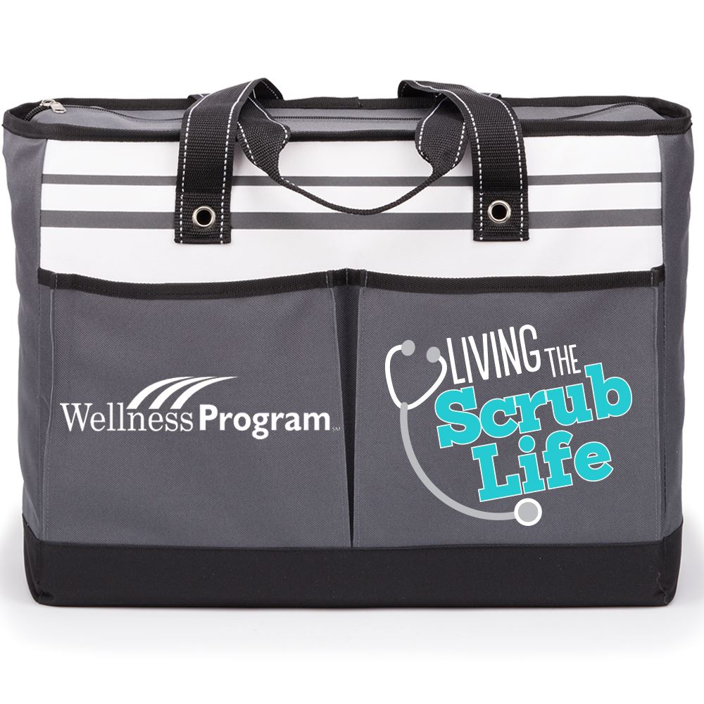 Living The Scrub Life Traveler Two-Pocket Tote Bag Plus Personalization
