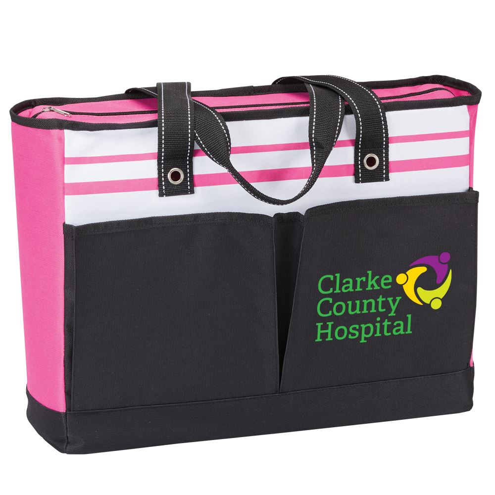 Pink Traveler Two-Pocket Tote Bag - Full Color Personalization Available