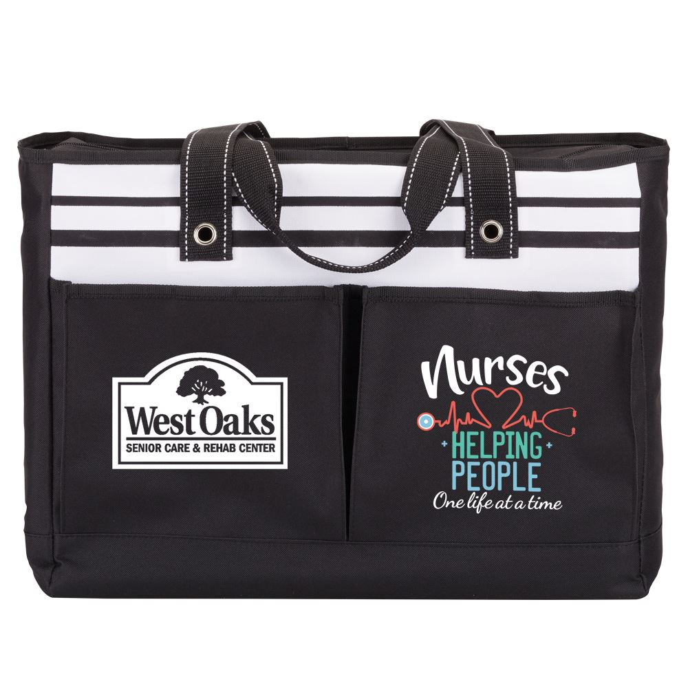 Nurses: Helping People One Life At A Time Black Traveler Two-Pocket Tote Bag - Personalization Available