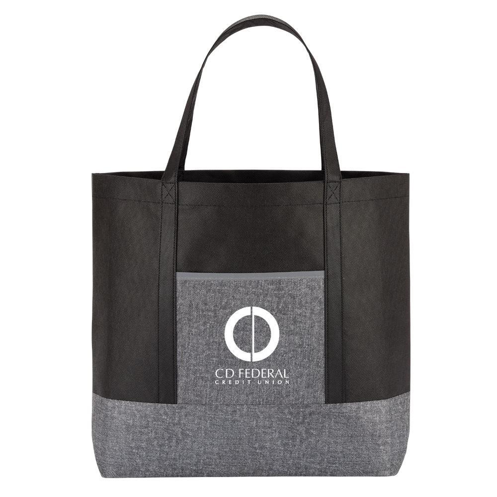 Gray Denim Non-Woven Tote Bag - Personalization Available