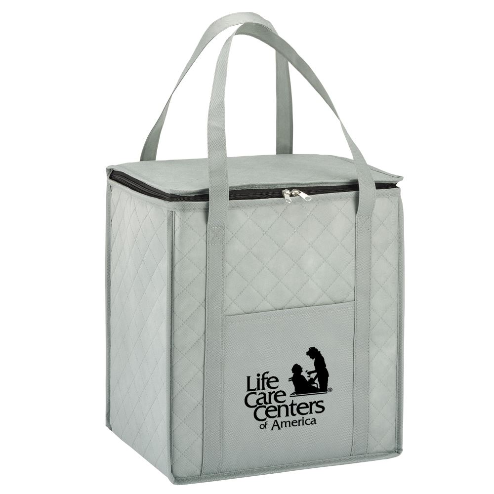 Gray Verona Quilted Non-Woven Insulated Tote - Personalization Available