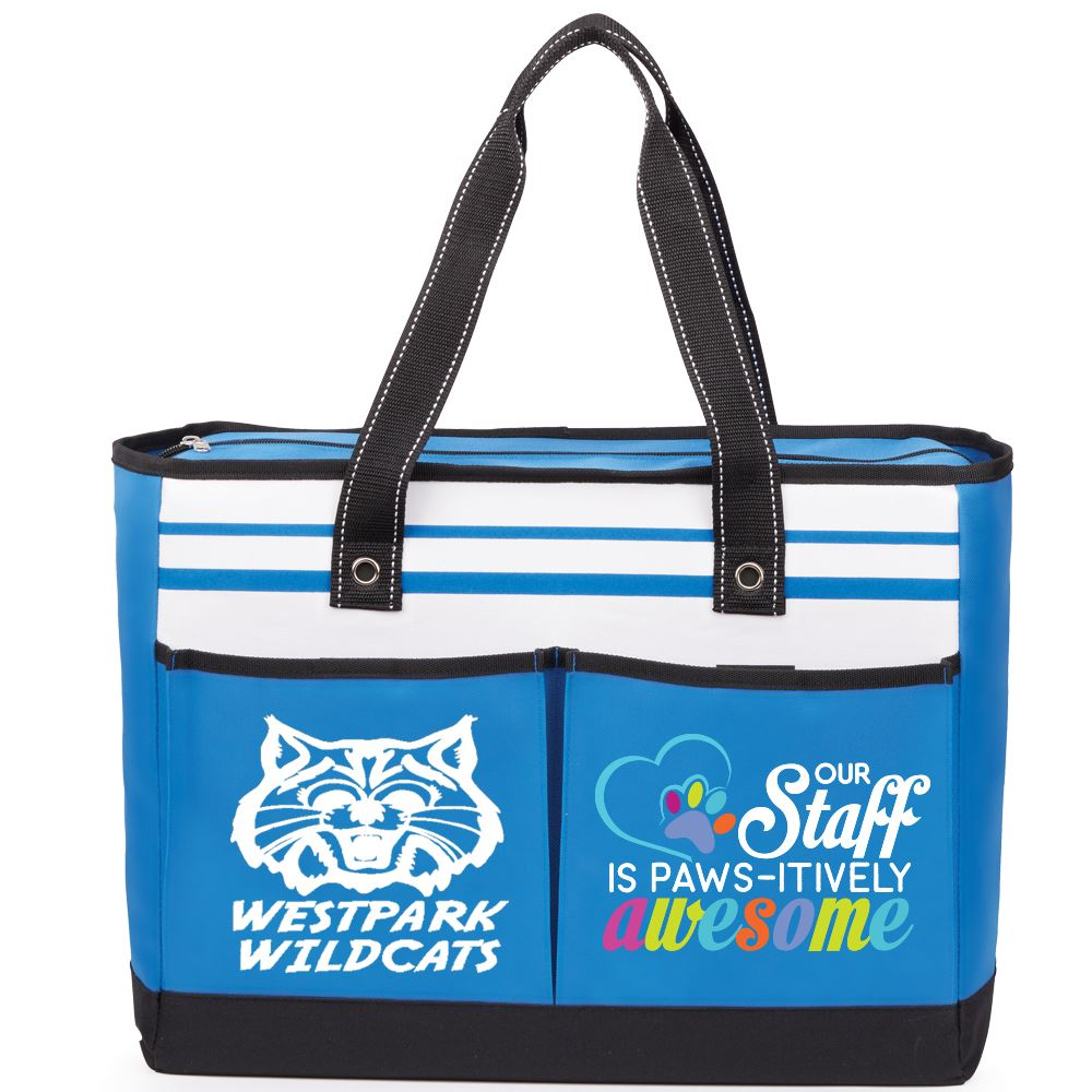 Out Staff Is PAWS-itively Awesome Traveler Two-Pocket Tote Bag - Personalization Available