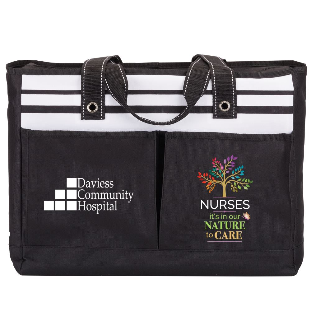 Nurses It's In Our Nature To Care Two Pocket Tote Bag - Personalization Available