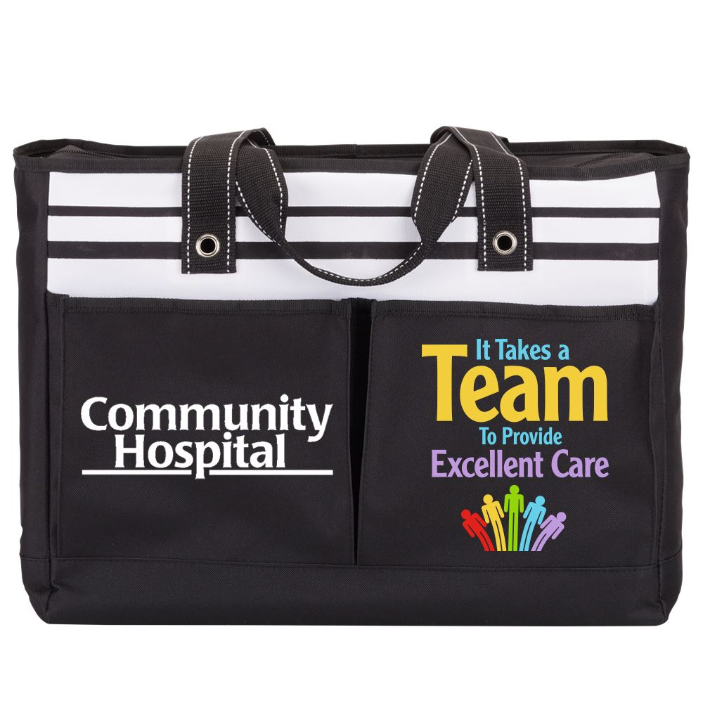 It Takes A Team To Provide Excellent Care Traveler Two-Pocket Tote Bag - Personalization Available