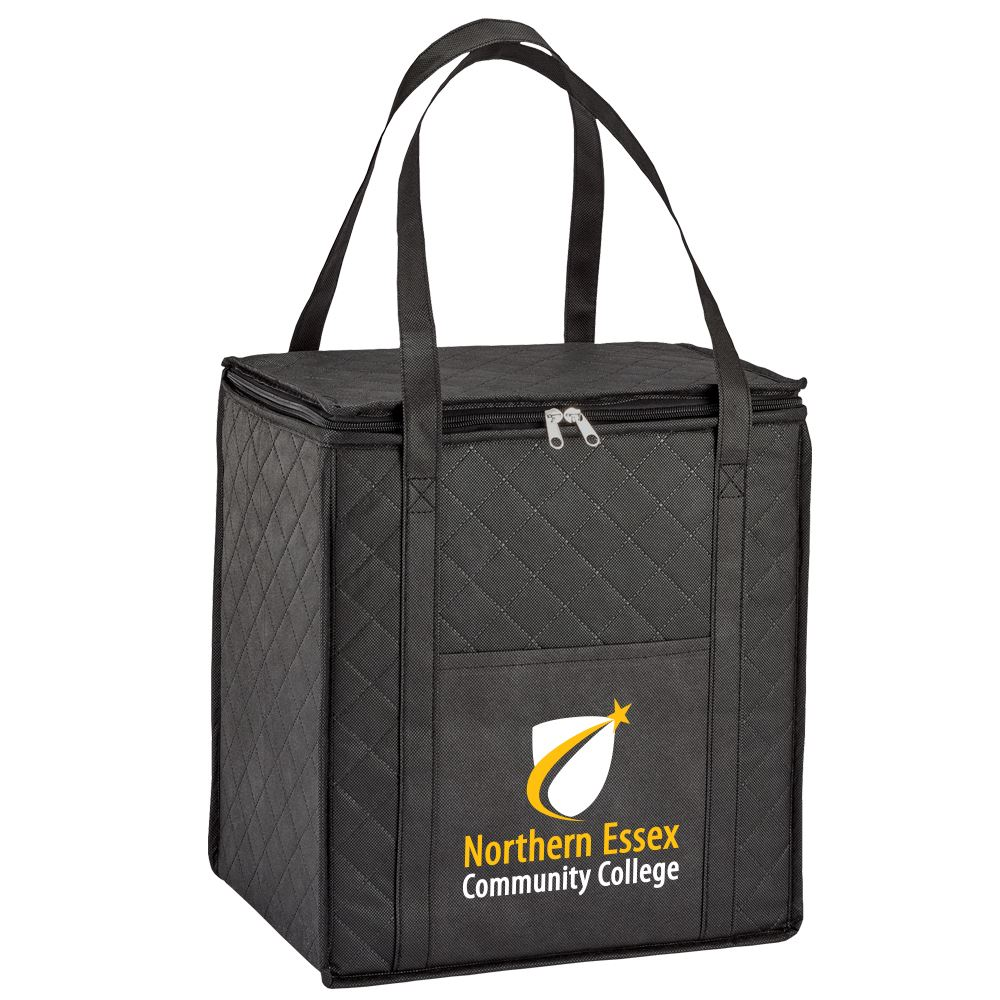 Black Verona Quilted Non-Woven Insulated Tote - Full Color Personalization Available