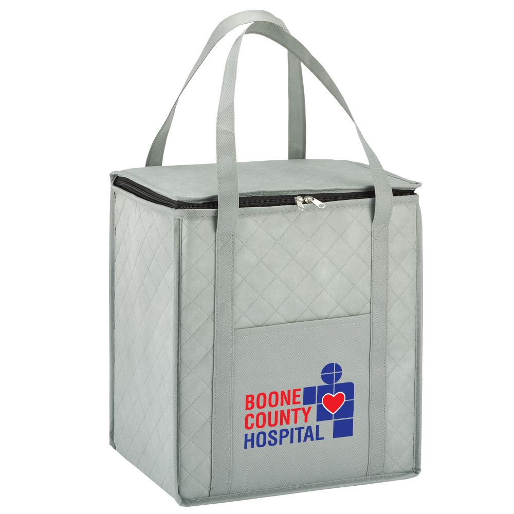 Gray Verona Quilted Non-Woven Insulated Tote - Full Color Personalization Available
