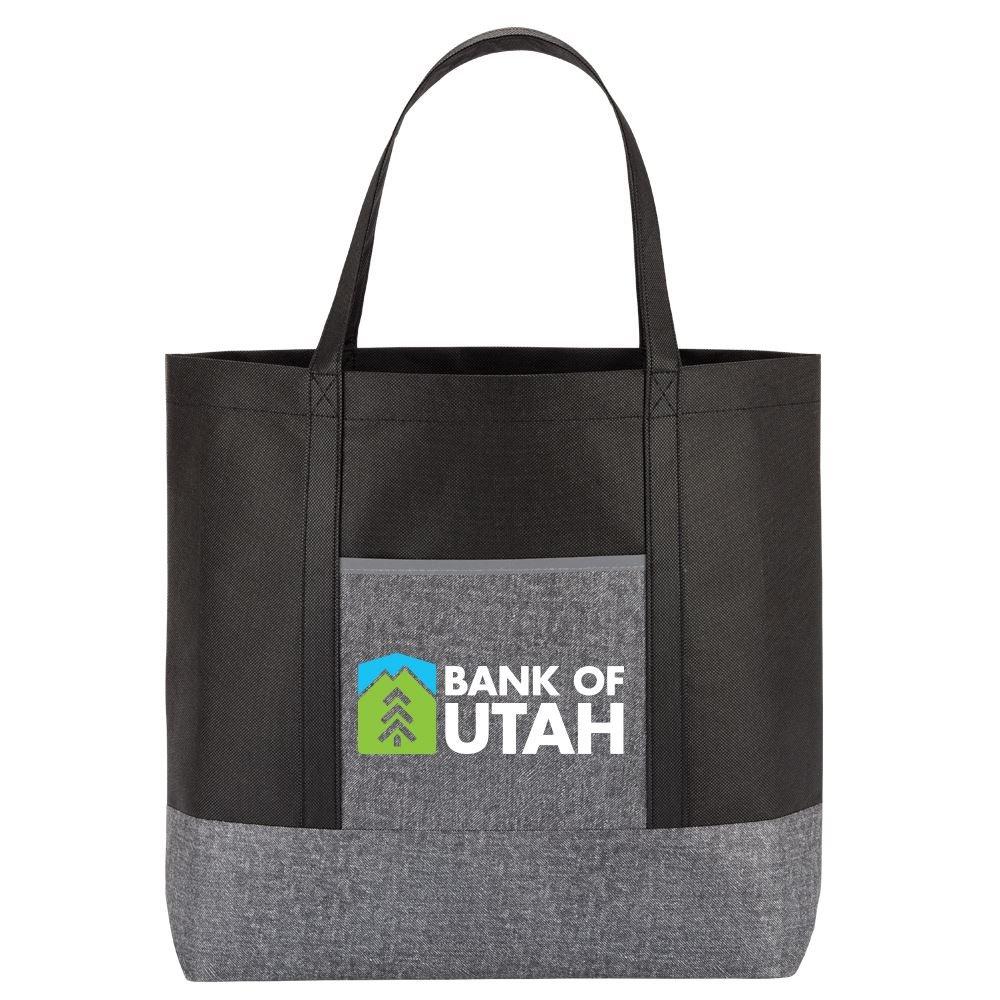 Gray Denim Non-Woven Tote Bag - Full Color Personalization Available