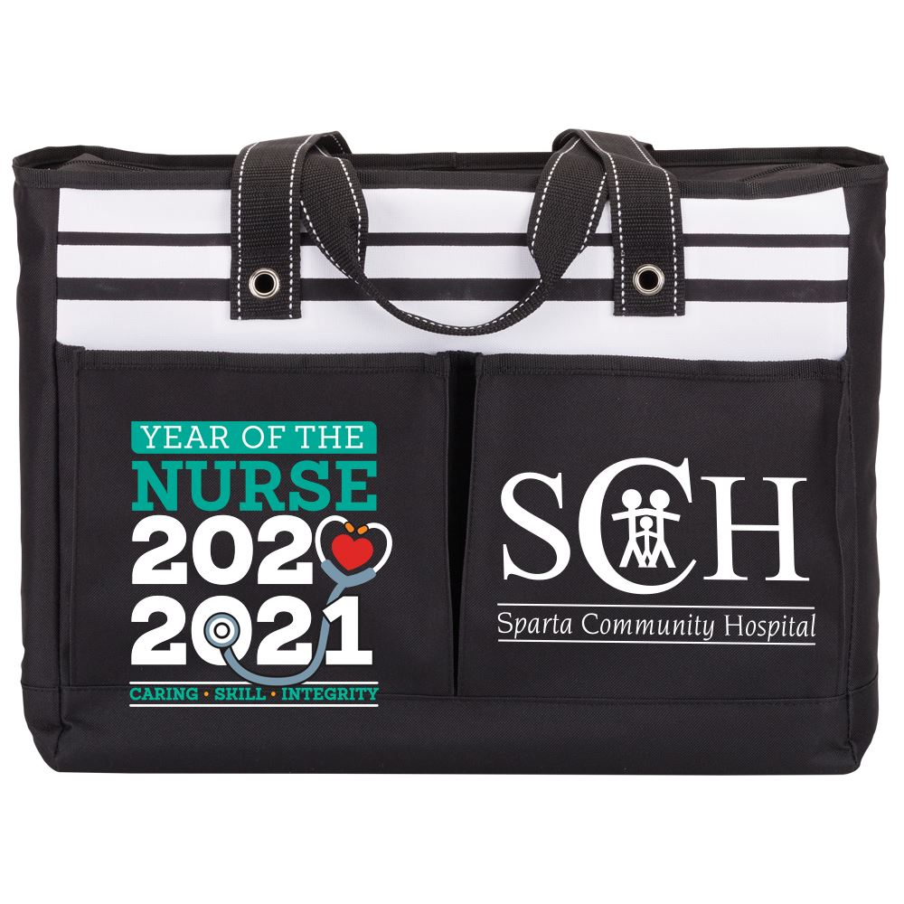 Year Of The Nurse Traveler Two-Pocket Tote Bag - Personalization Available