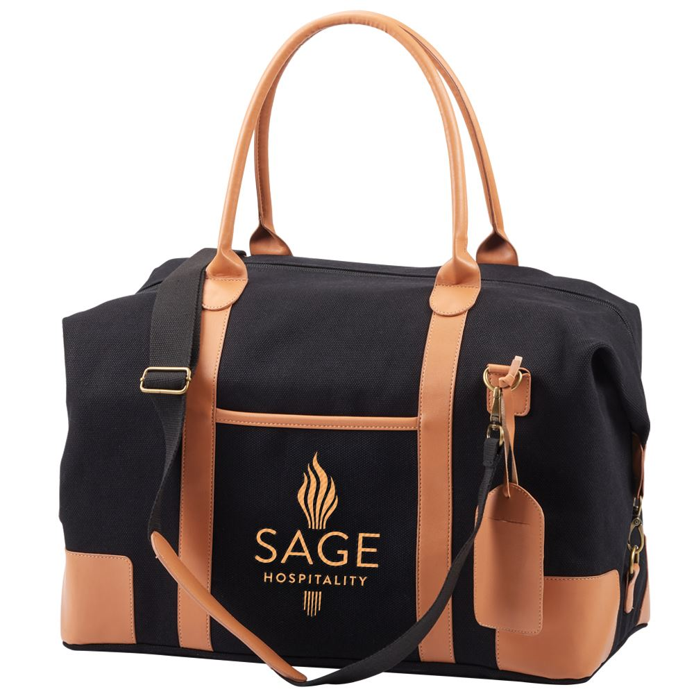 Black Milan Weekender Bag - Embroidered Personalization Available