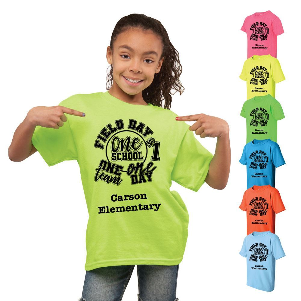 100 Cotton Youth Neon Field Day Themed T-Shirt