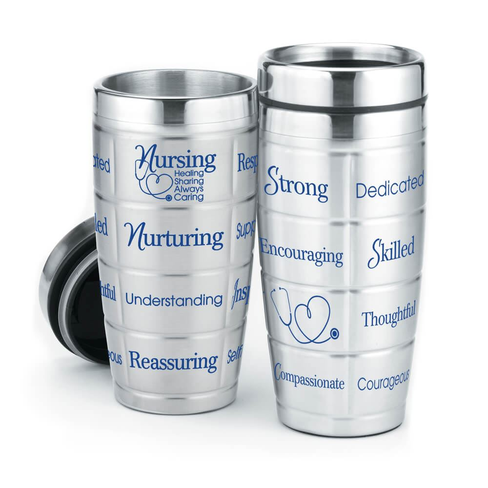 Nursing: Healing, Sharing, Always Caring Stainless Steel Message Tumbler 16-Oz.