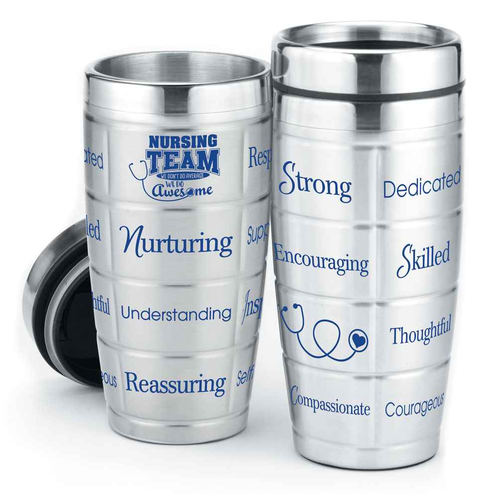 Nursing Team: We Don't Do Average, We Do Awesome Stainless Steel Message Tumbler 16-Oz.