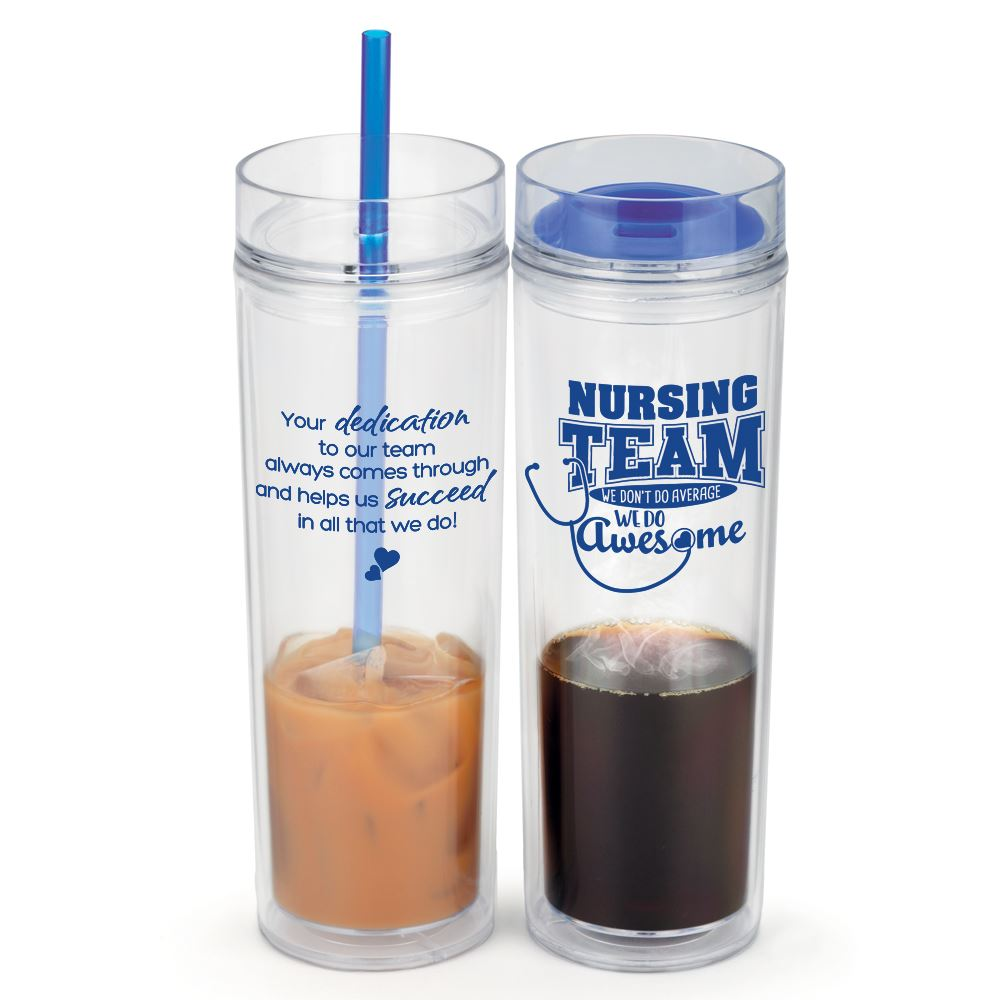 Nursing Team: We Don't Do Average We Do Awesome Fire & Ice 2-in-1 Tumbler Gift Set
