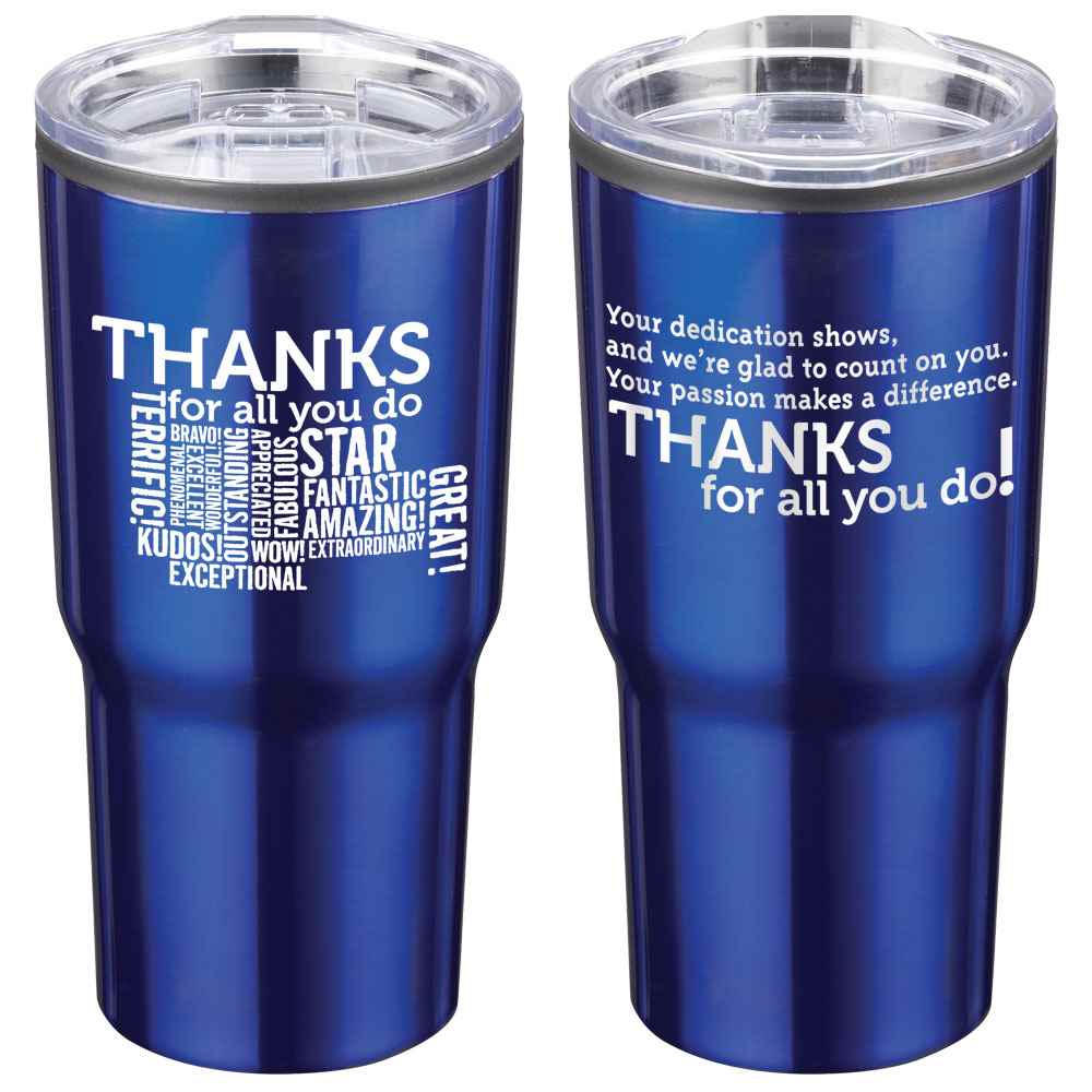 Thanks For All You Do! Timber Insulated Blue Stainless Steel Travel Tumbler 20-Oz.