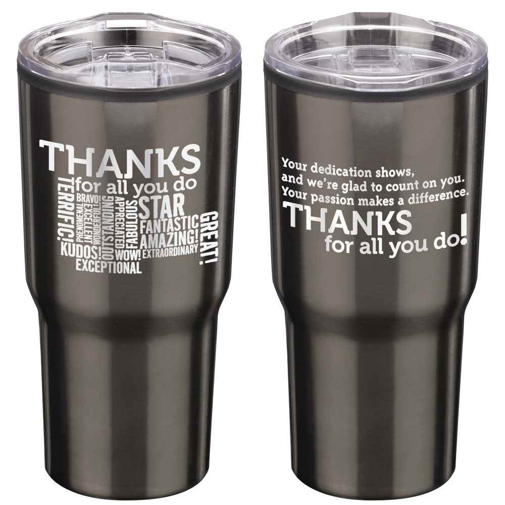 Thanks For All You Do Timber Insulated Titanium Stainless Steel Travel Tumbler 20-Oz.