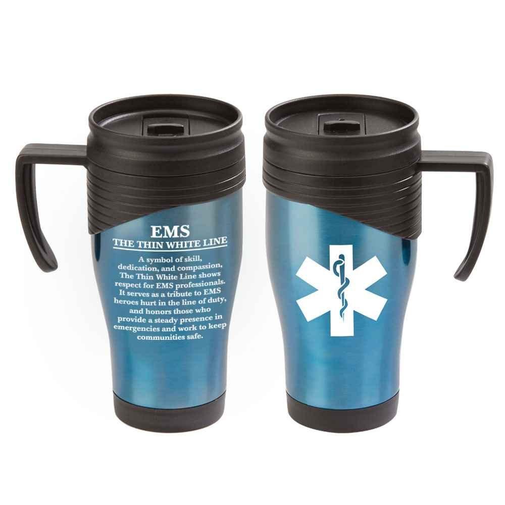 EMS: The Thin White Line Easton Stainless Steel Travel Mug 15-Oz.