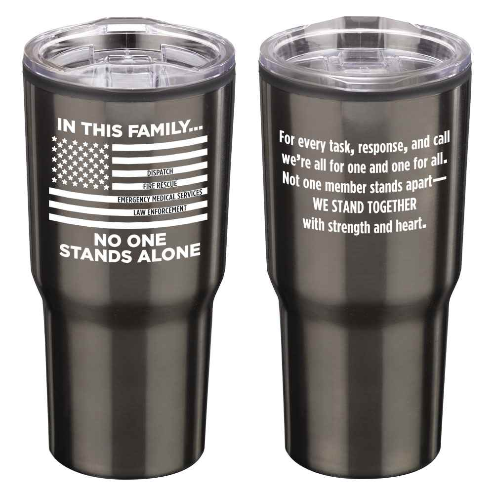 In This Family No One Stands Alone Timber Insulated Stainless Steel Travel Tumbler 20-Oz.