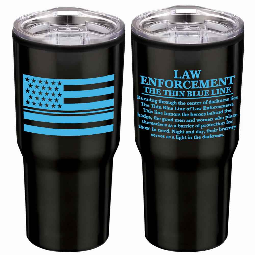 Law Enforcement: The Thin Blue Line Timber Insulated Stainless Steel Travel Tumbler 20-Oz.