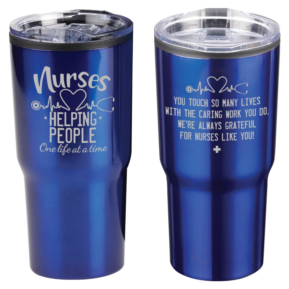 Nurses: Helping People One Life At A Time Blue Timber Insulated Stainless Steel Travel Tumbler 20-Oz.