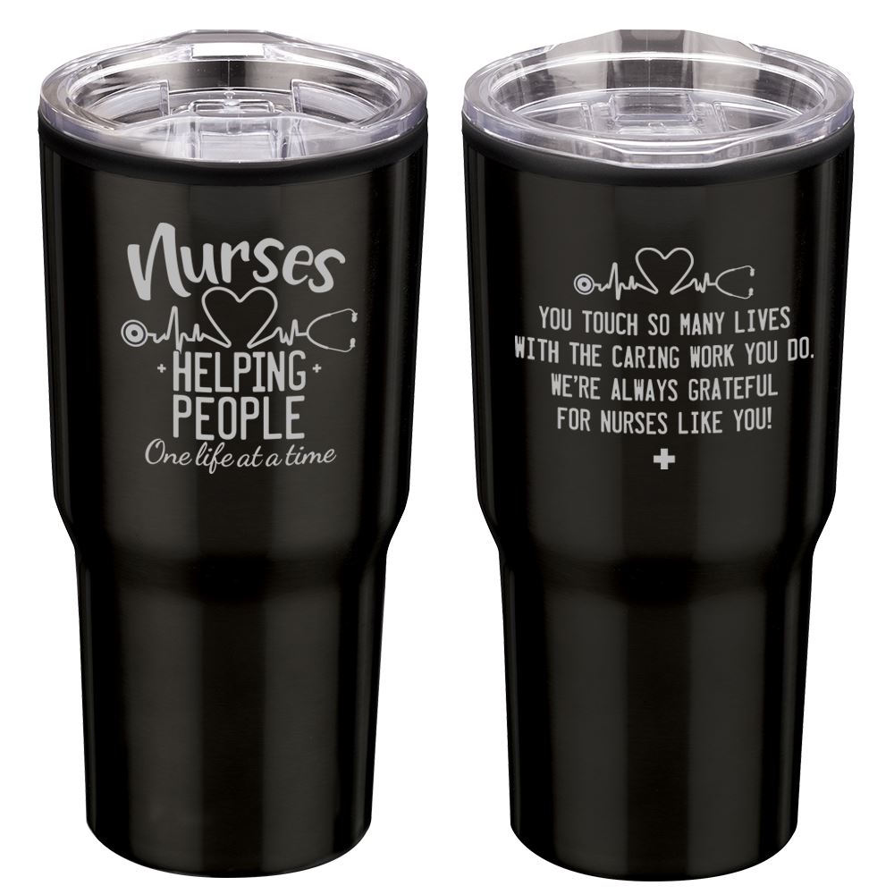 Nurses: Helping People One Life At A Time Black Timber Insulated Stainless Steel Travel Tumbler 20-Oz.