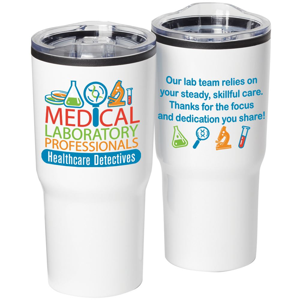 Medical Laboratory Professionals Healthcare Detectives Timber Insulated Stainless Steel Travel Tumbler 20-Oz.