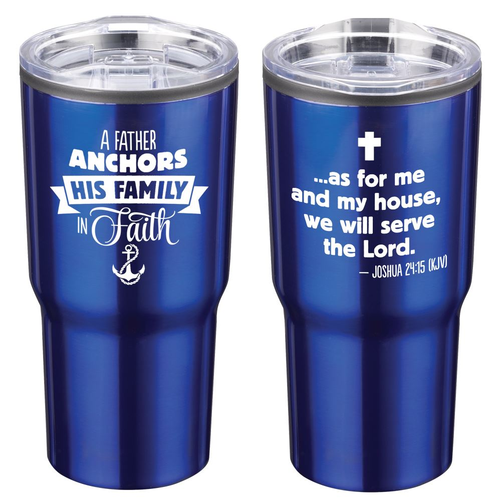A Father Anchors His Family In Faith Timber Insulated Stainless Steel Travel Tumbler 20-Oz.
