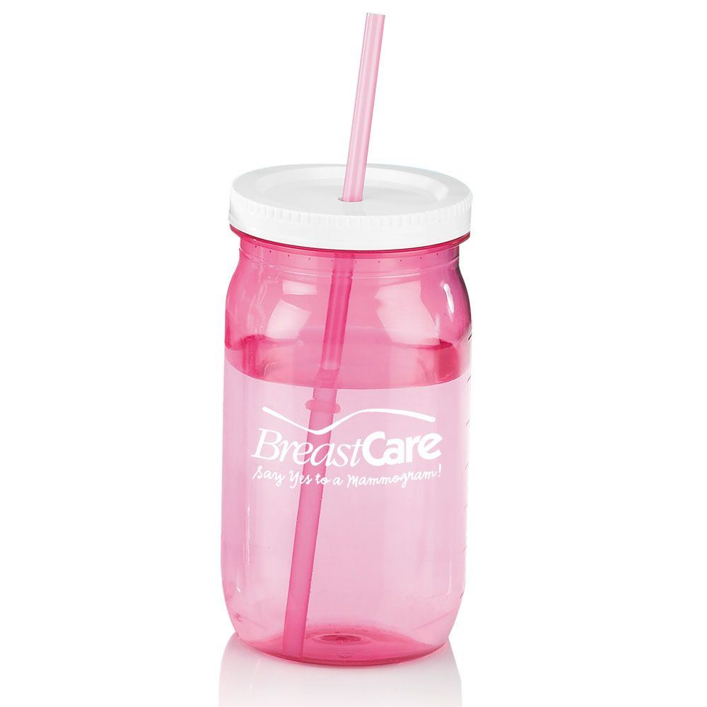 Pink Mason Jar With Straw 27-oz. - Personalization Available