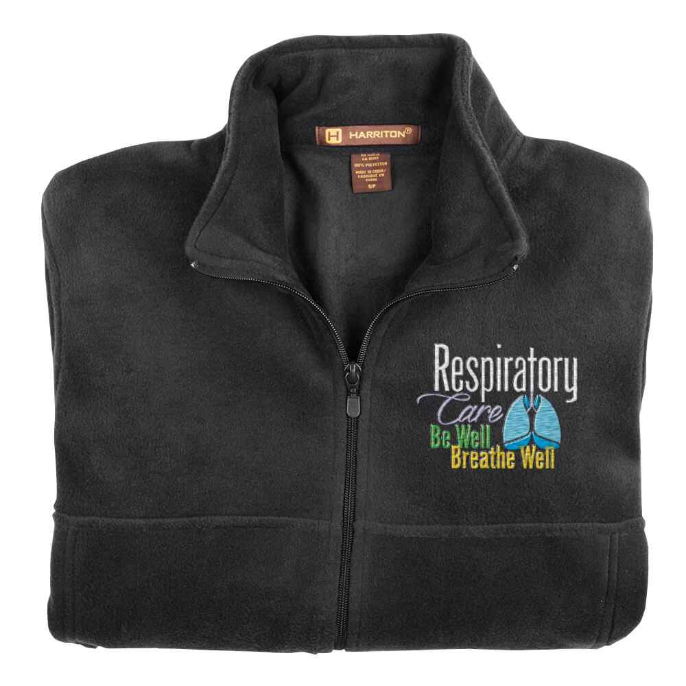 Respiratory Care: Be Well, Breathe Well Embroidered Unisex Full-Zip Fleece Jacket