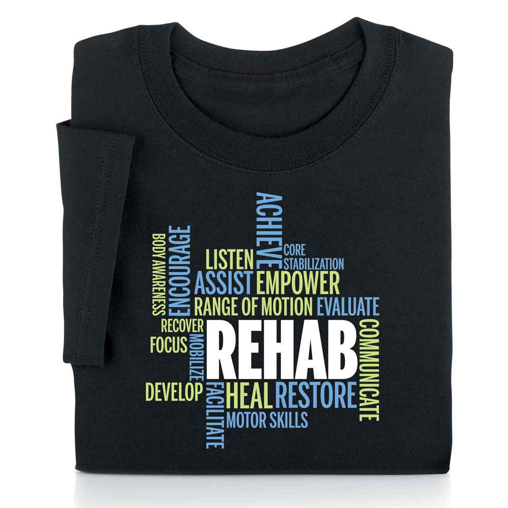 Rehab Word Cloud Short Sleeve Recognition T-Shirt