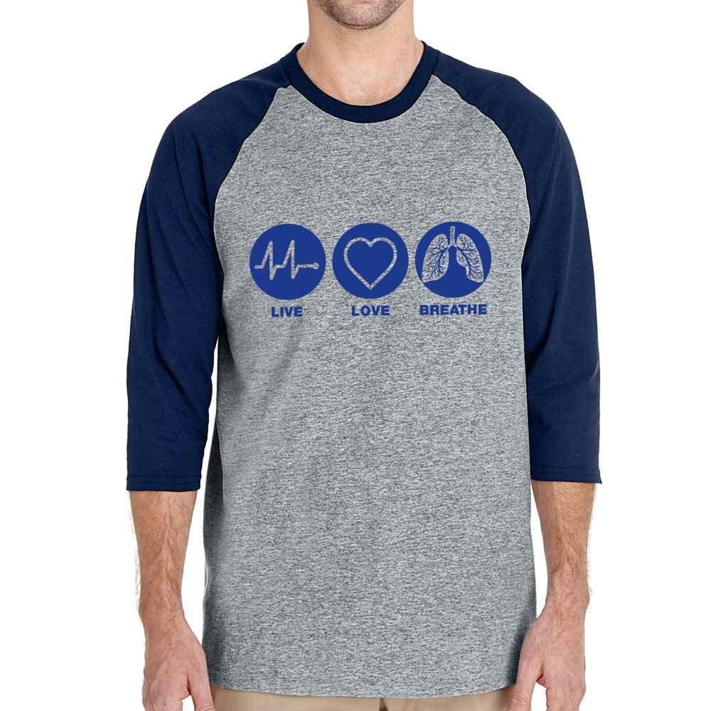 Live, Love, Breathe Gildan® Heavy Cotton™ 3/4 Raglan Sleeve T-Shirt