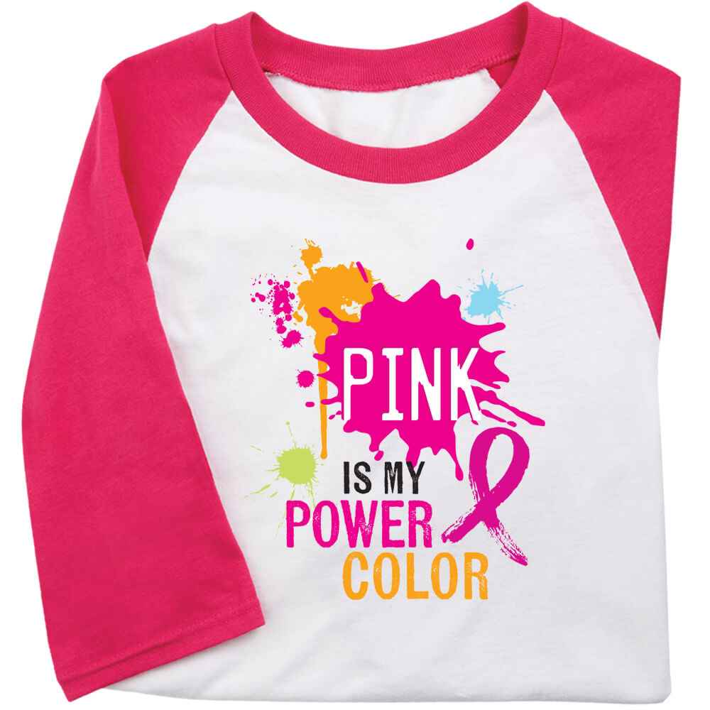 Pink Is My Power Color Gildan® Heavy Cotton 3/4 Raglan Sleeve Baseball T-Shirt