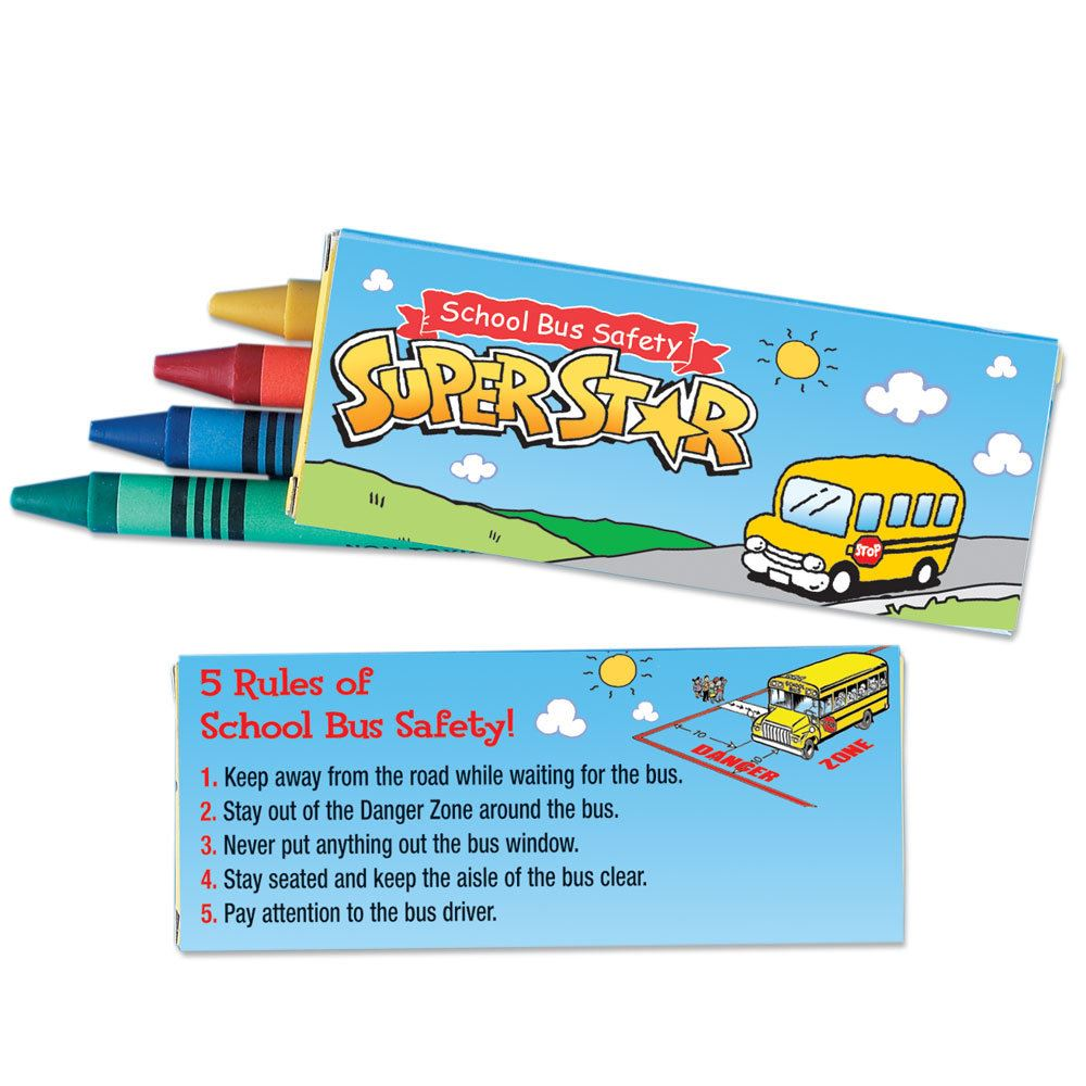School Bus Safety Super Star Crayons