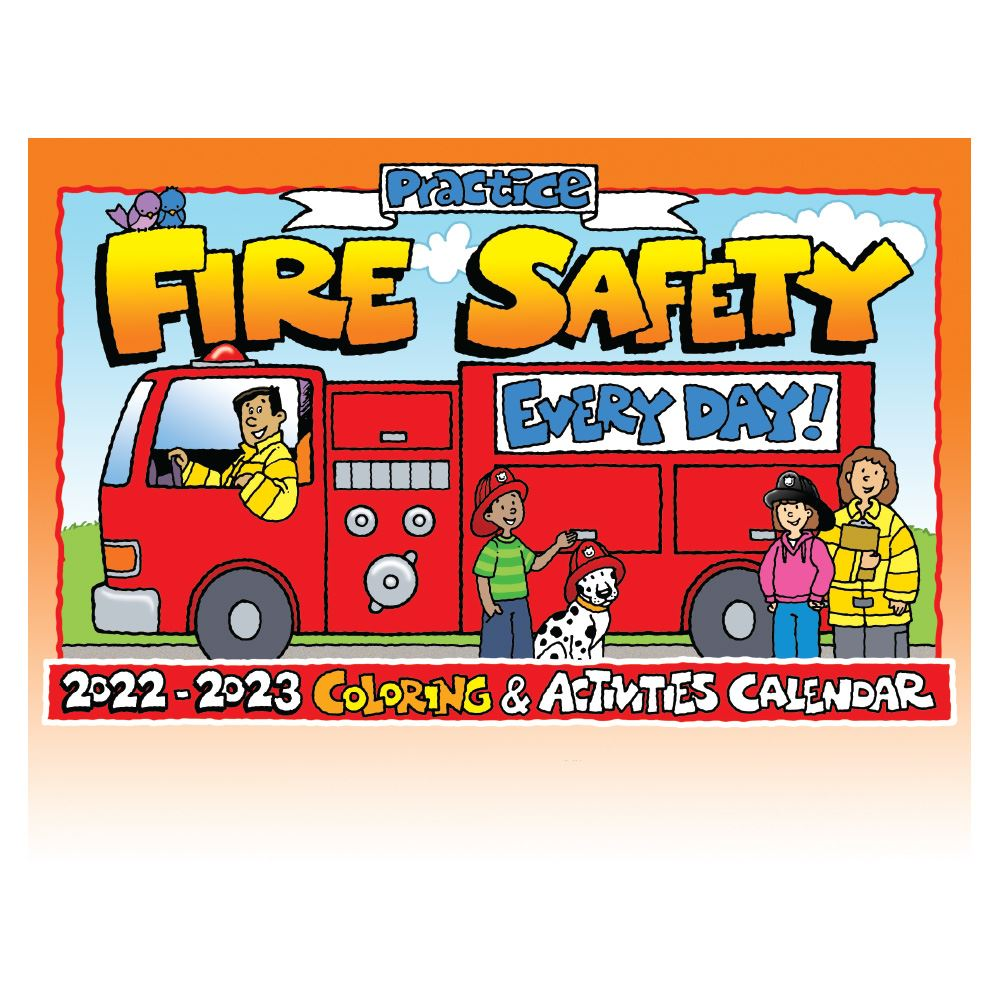 Safety Calendar Ideas : Fire safety coloring activities calendar with crayons