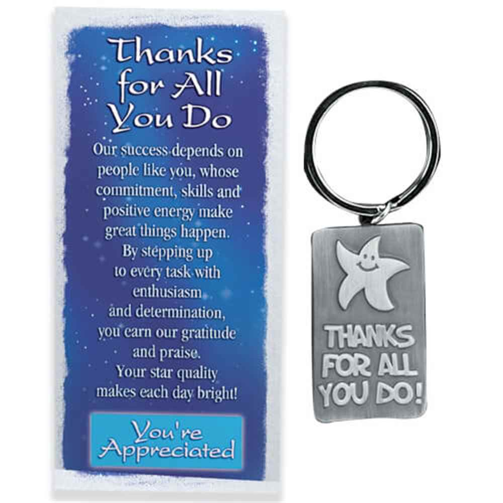 Thanks for all you do pewter key tag card with gift box Thanks for all you do gifts