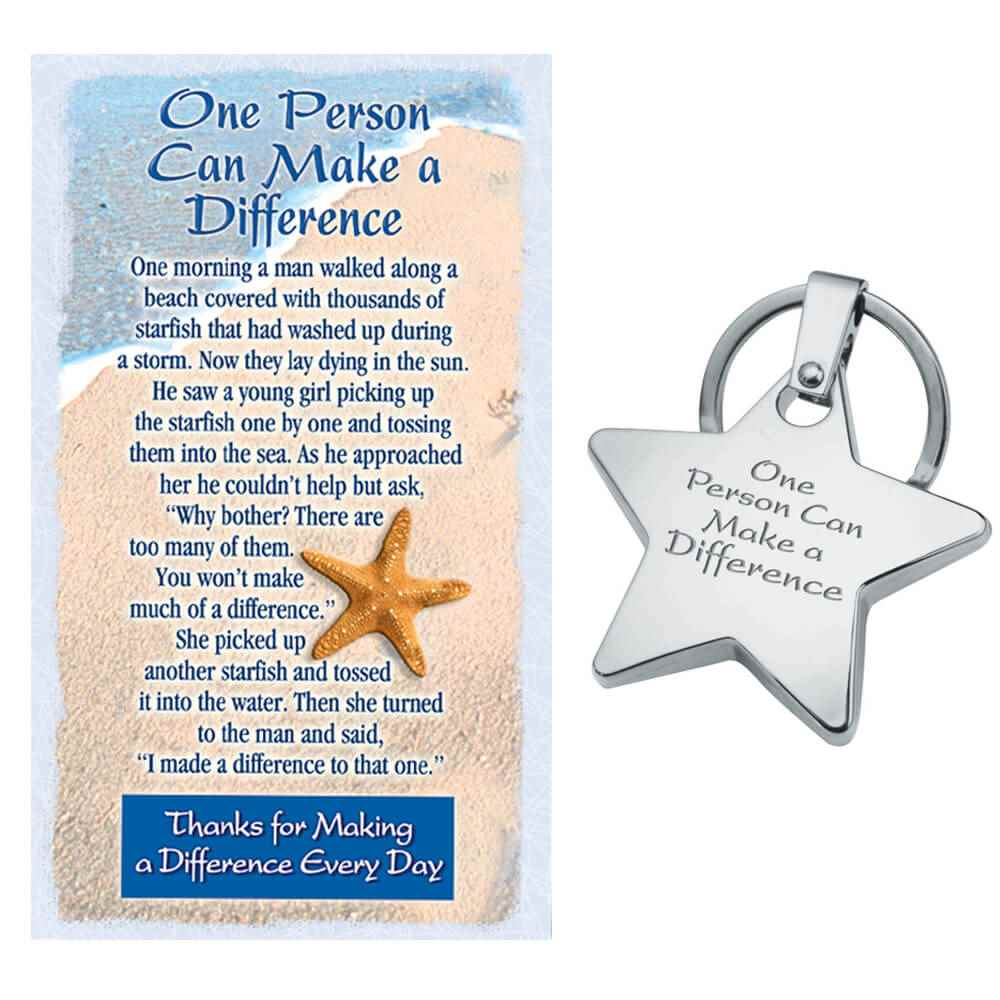 One Person Can Make A Difference Star Key Tag With Keepsake Card