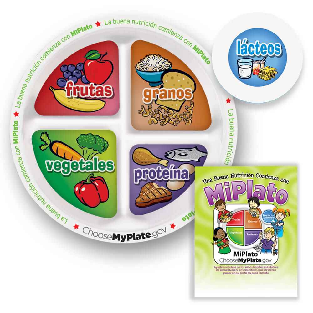 Child's Portion Meal Plate With Spanish Language Educational Card