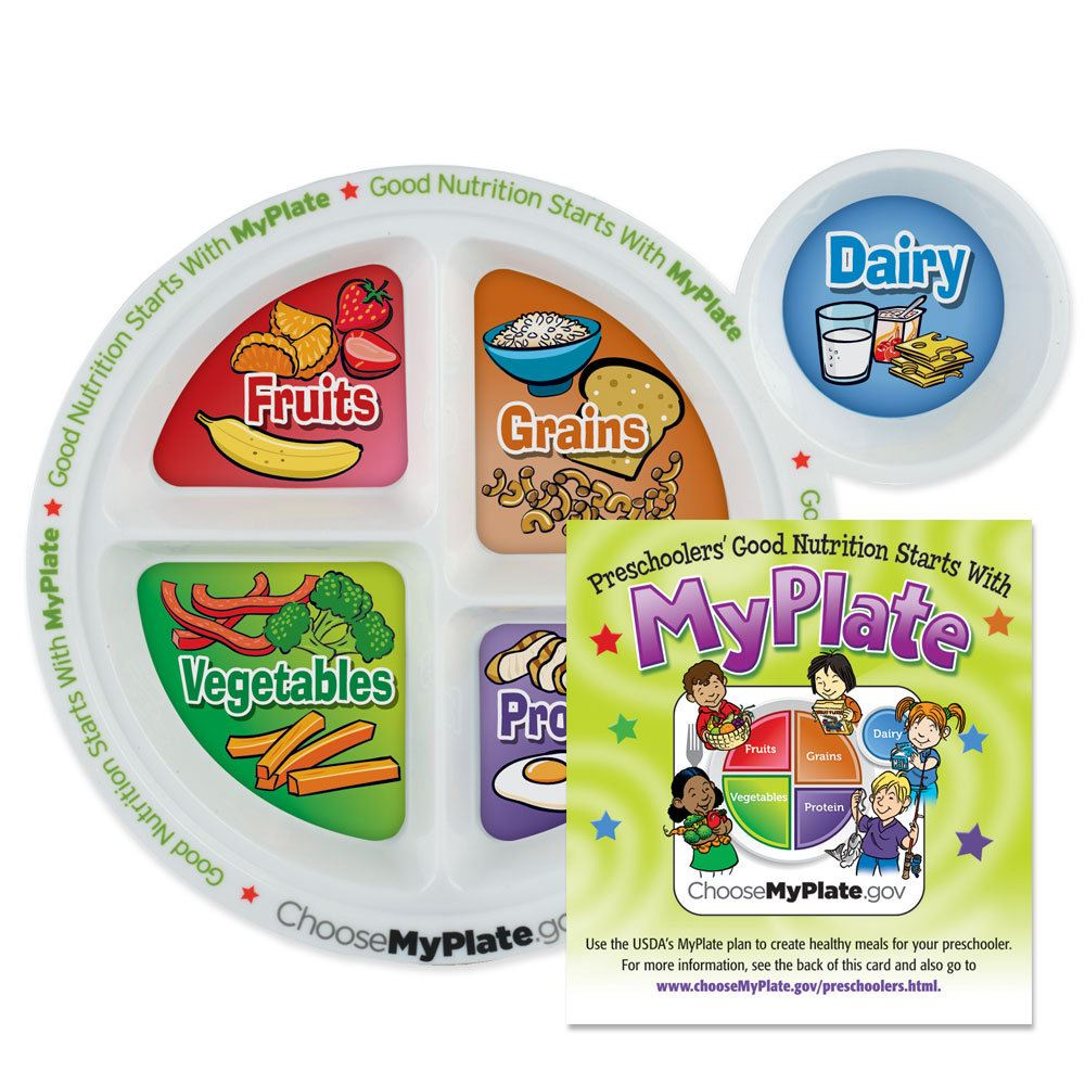 preschool portion meal plate with english educational card