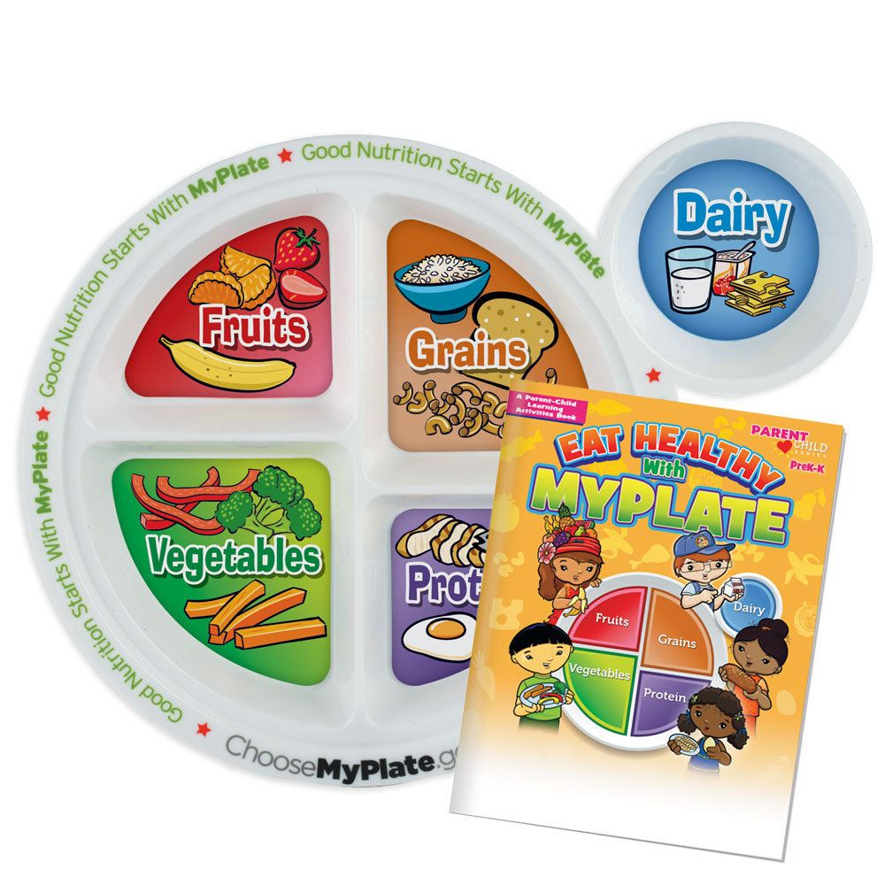 MyPlate Preschool Portion Meal Plate With Activities Book
