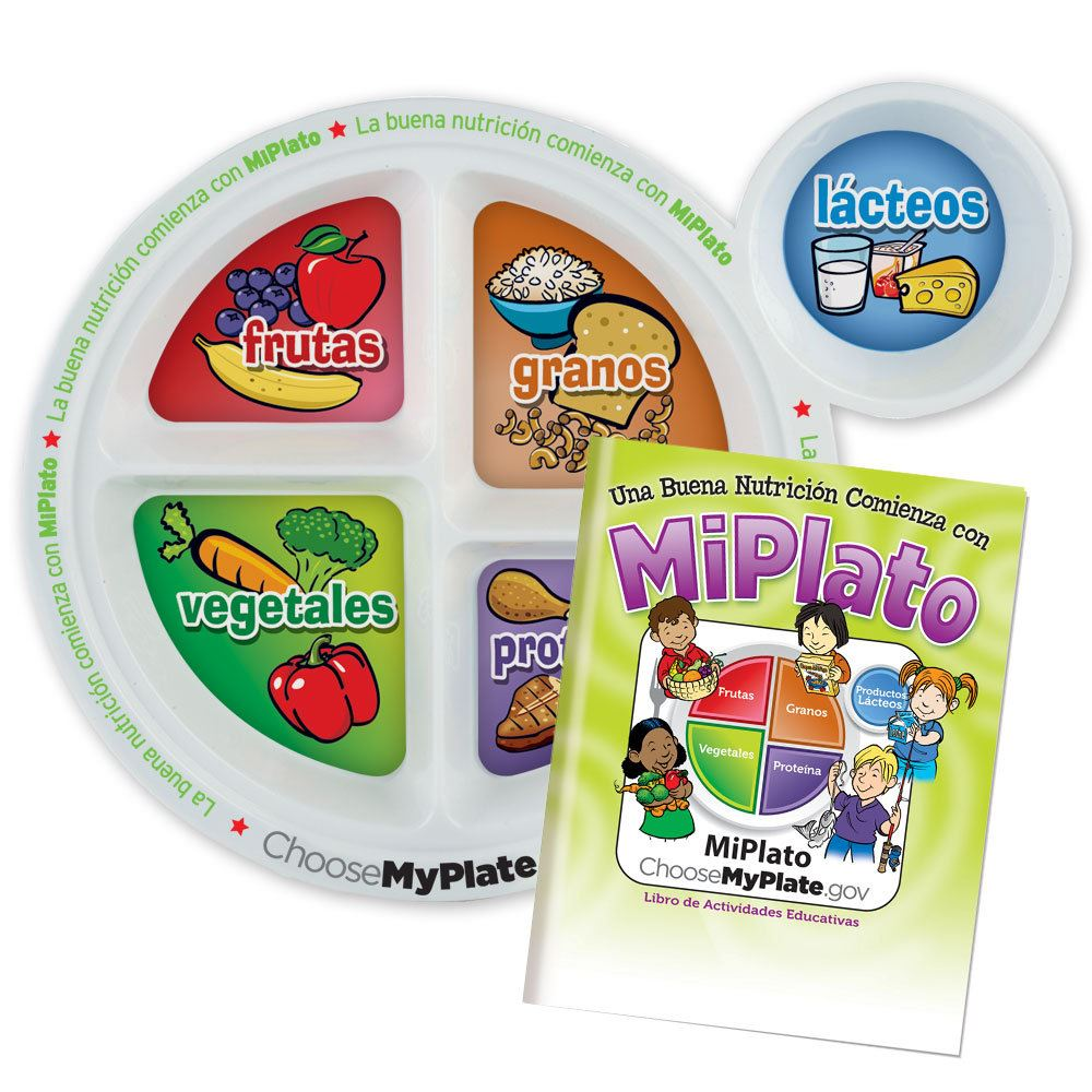 Child's Portion Meal Plate With Spanish Language Educational Activities Book